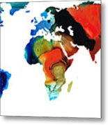 Map Of The World 3 -colorful Abstract Art Metal Print by Sharon Cummings