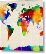Map Of The World Map Metal Print by Michael Tompsett