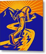 Marathon Runner Or Jogger On Mountain Road  Metal Print by Aloysius Patrimonio