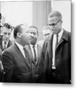 Martin Luther King Jr., And Malcolm X Metal Print by Everett