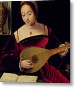 Mary Magdalene Playing The Lute Metal Print by Master of the Female Half Lengths