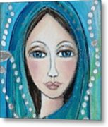 Mary With White Rosary Beads Metal Print by Denise Daffara