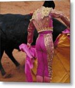 Matador And Bull Metal Print by Carl Purcell