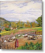 Mending The Sheep Pen Metal Print by William Henry Millais