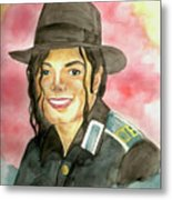 Michael Jackson - A Bright Smile Shining In The Sky Metal Print by Nicole Wang