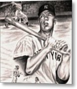 Mickey Mantle Metal Print by Kathleen Kelly Thompson