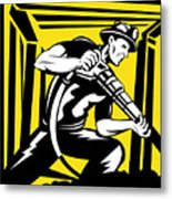 Miner With Pneumatic Drill  Metal Print by Aloysius Patrimonio