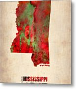 Mississippi Watercolor Map Metal Print by Naxart Studio