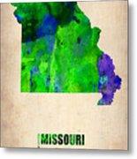 Missouri Watercolor Map Metal Print by Naxart Studio