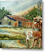 Momma Longhorn And Calf Metal Print by Ron Stephens