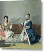 Monsieur Levett And Mademoiselle Helene Glavany In Turkish Costumes Metal Print by Jean Etienne Liotard