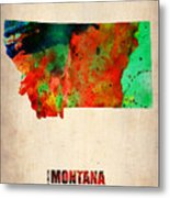 Montana Watercolor Map Metal Print by Naxart Studio