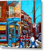 Montreal City Scene Hockey At Wilenskys Metal Print by Carole Spandau