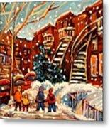 Montreal Street In Winter Metal Print by Carole Spandau