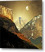 Moon Over Half Dome Metal Print by Wingsdomain Art and Photography