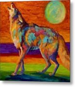 Moon Talk - Coyote Metal Print by Marion Rose