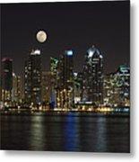 Moonrise Over San Diego Metal Print by Sandra Bronstein