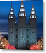 Mormon Temple Christmas Lights Metal Print by Utah Images