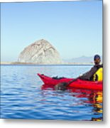 Morro Bay Kayaker Metal Print by Bill Brennan - Printscapes