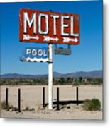 Motel Sign On I-40 And Old Route 66 Metal Print by Scott Sawyer