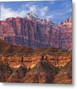 Mount Kinesava In Zion National Park Metal Print by Utah Images