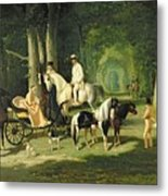 Mr And Mrs A Mosselman And Their Two Daughters Metal Print by Alfred Dedreux