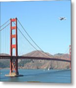 Nasa Space Shuttle's Final Hurrah Over The San Francisco Golden Gate Bridge Metal Print by Wingsdomain Art and Photography