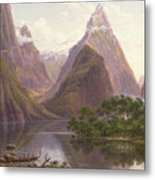 Native Figures In A Canoe At Milford Sound Metal Print by Eugen von Guerard