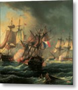 Naval Combat Between The Rights Of Man And The English Vessel Indefatigable And The Frigate Amazon Metal Print by Leopold Le Guen