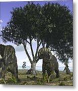 Nedoceratops Graze Beneath A Giant Oak Metal Print by Walter Myers