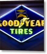 Neon Goodyear Tires Sign Metal Print by Mike McGlothlen