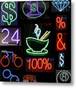 Neon Sign Series Of Various Symbols Metal Print by Michael Ledray