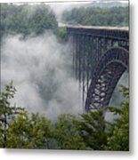 New River Gorge Bridge On A Foggy Day In West Virginia Metal Print by Brendan Reals