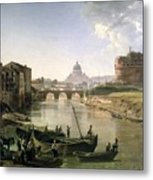 New Rome With The Castel Sant Angelo Metal Print by Silvestr Fedosievich Shchedrin