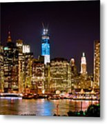 New York City Tribute In Lights And Lower Manhattan At Night Nyc Metal Print by Jon Holiday