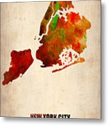 New York City Watercolor Map 2 Metal Print by Naxart Studio