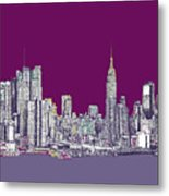 New York In Purple Metal Print by Lee-Ann Adendorff