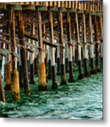 Newport Beach Pier Close Up Metal Print by Mariola Bitner