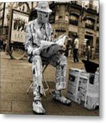 Newspaper Man Metal Print by Rob Hawkins