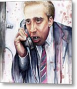 Nicolas Cage A Vampire's Kiss Watercolor Art Metal Print by Olga Shvartsur