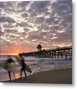 Night Surfing Metal Print by Gary Zuercher