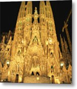 Night View Of Antoni Gaudis La Sagrada Metal Print by Richard Nowitz