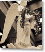 Nike Goddess Of Victory Sepia Metal Print by Linda Phelps