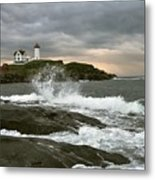 Nubble Light In A Storm Metal Print by Rick Frost