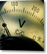 Numbers On The Dial Of A Voltmeter Metal Print by Sami Sarkis