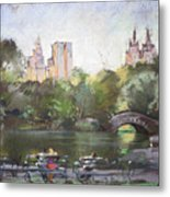 Nyc Resting In Central Park Metal Print by Ylli Haruni