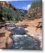 Oak Creek Flowing Through The Red Rocks Metal Print by Rich Reid