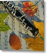 Oboe And Sheet Music On Autumn Afternoon Metal Print by Anna Lisa Yoder