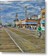 Ocean City Boardwalk Metal Print by Edward Sobuta