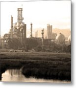 Oil Refinery Industrial Plant In Martinez California . 7d10364 . Sepia Metal Print by Wingsdomain Art and Photography
